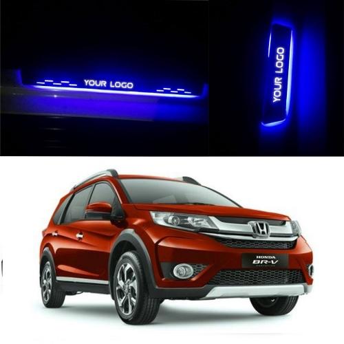 Honda BRV Door Foot LED Mirror Finish Black Glossy Scuff Sill Plate Guards (Set of 4Pcs.)