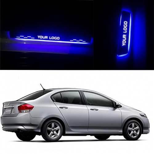 Honda City ivtec 2009 Door Foot LED Mirror Finish Black Glossy Scuff Sill Plate Guards (Set of 4Pcs.)