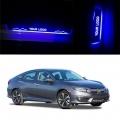 Honda Civic Door Foot LED Mirror Finish Black Glossy Scuff Sill Plate Guards (Set of 4Pcs.)