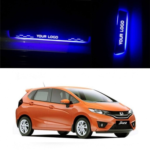 Car Door LED Light Scuff Sill Plate Guards for Honda Jazz (Set of 4Pcs.)