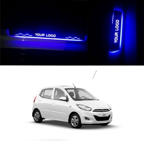 Hyundai i10 Door Foot LED Mirror Finish Black Glossy Scuff Sill Plate Guards (Set of 4Pcs.)