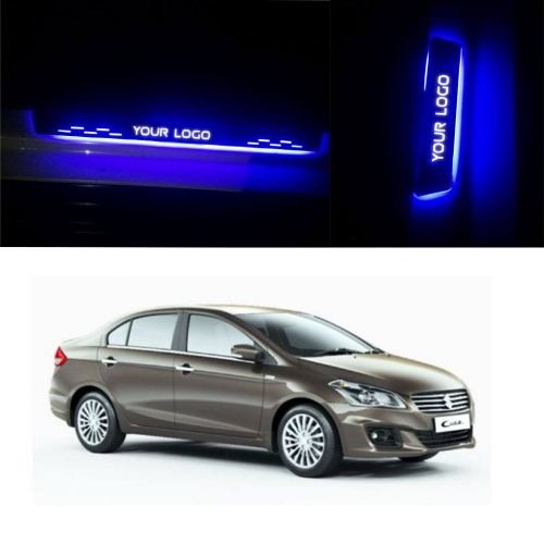 Maruti Suzuki Ciaz Door Foot LED Mirror Finish Black Glossy Scuff Sill Plate Guards (Set of 4Pcs.)