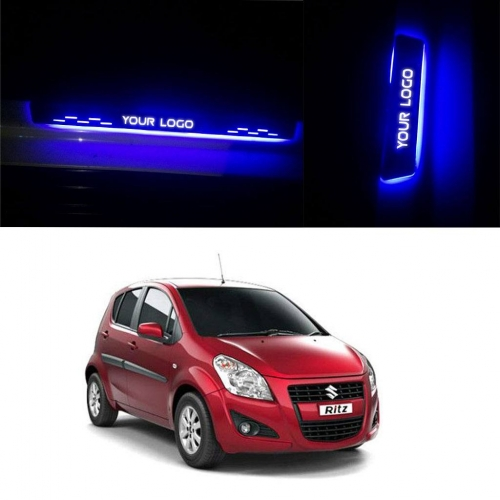 Car Door LED Light Scuff Sill Plate Guards for Maruti Suzuki Ritz (Set of 4Pcs.)