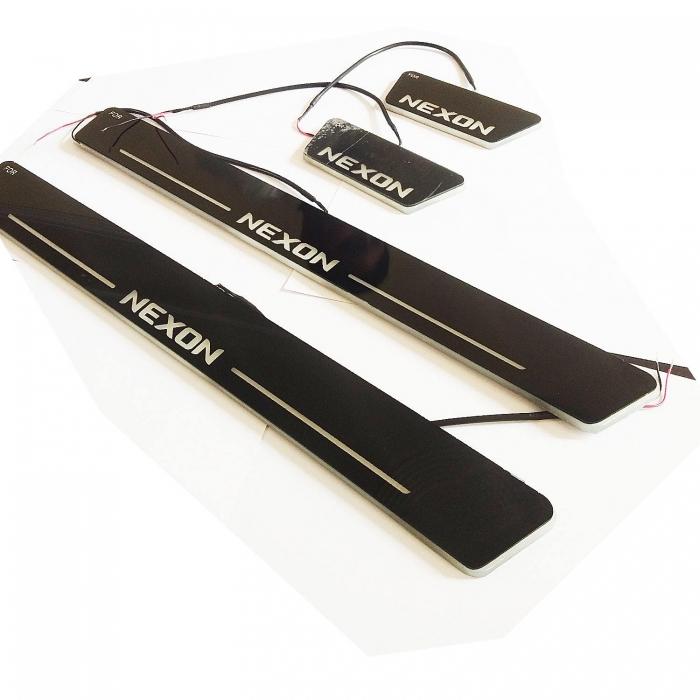 LED Matrix Moving Light Scuff Sill Plate Guards for Tata Nexon (Set of 4Pcs.)