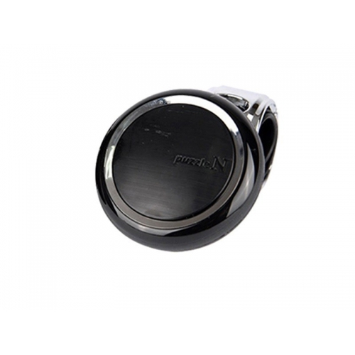 Puzzle Car Power Steering Handle Spinner Knob Black and Chrome