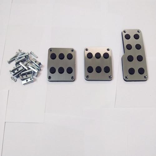 YSA Silver Color Non-Slip Racing Manual Car Pedals Pad Cover (Set of 3Pcs)