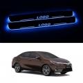 Toyota Corolla Altis Door Foot LED Mirror Finish Black Glossy Scuff Sill Plate Guards (Set of 4Pcs.)