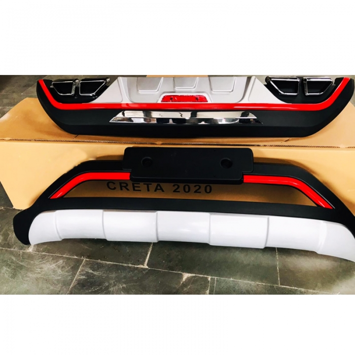 Hyundai Creta 2020 Red Line Front and Rear Bumper Guard Protector in High Quality ABS Material