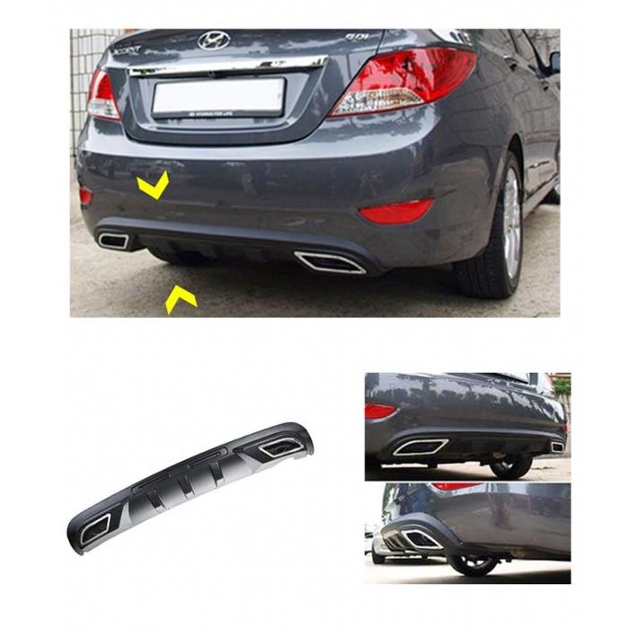 Sporty Rear Bumper Diffuser Complete For Hyundai Verna 2012