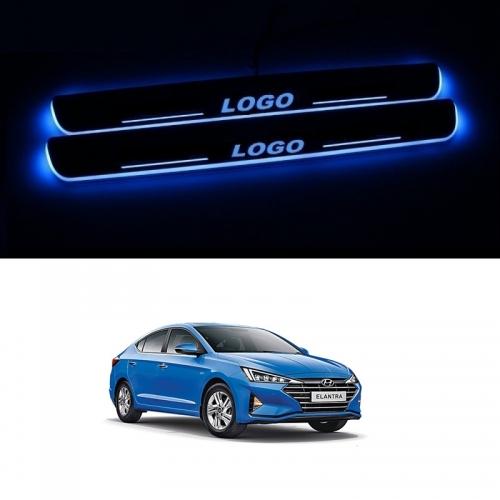 Hyundai Elantra Door Foot LED Mirror Finish Black Glossy Scuff Sill Plate Guards (Set of 4Pcs.)