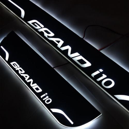 Hyundai Grand i10 Door Foot LED Mirror Finish Black Glossy Scuff Sill Plate Guards (Set of 4Pcs.)