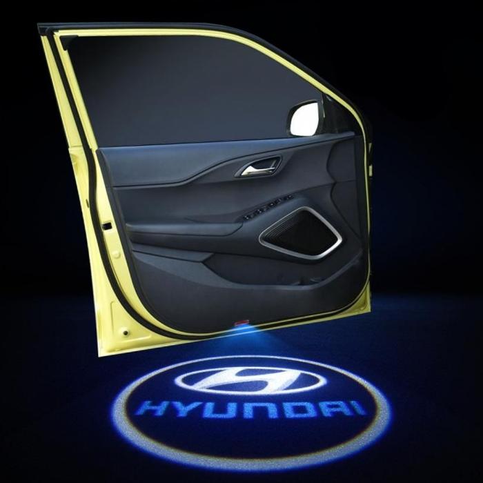 Wireless Hyundai Logo Shadow Projector Ghost Lights Kit For Hyundai Kona All Models(Set Of 2Pcs.)