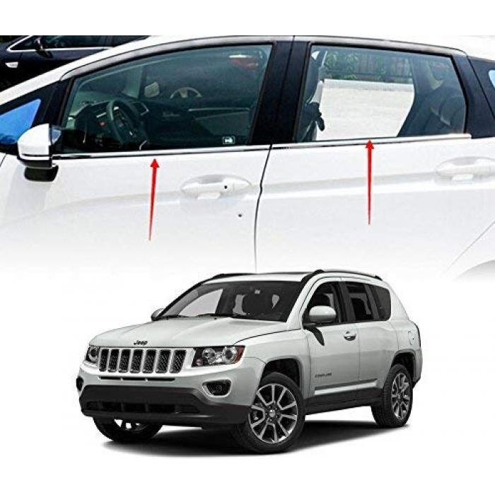 Jeep Compass Lower Window Chrome Garnish Trims (Set of 8Pcs.)