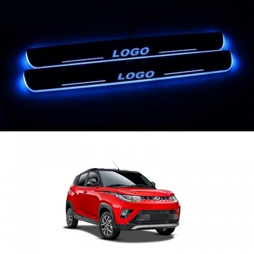 Mahindra KUV100 Door Foot LED Mirror Finish Black Glossy Scuff Sill Plate Guards (Set of 4Pcs.)