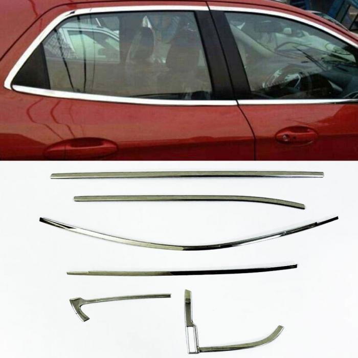 Renault Kwid Full Window Chrome Garnish Trims (Set Of 12Pcs.)
