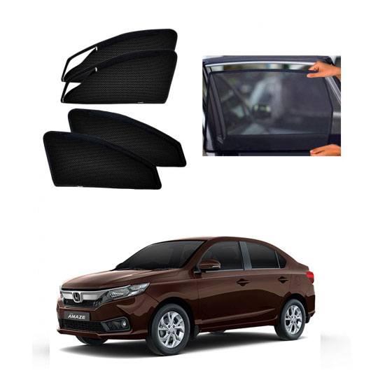 Honda New Amaze Car Zipper Magnetic Window Sun Shades Set Of 4
