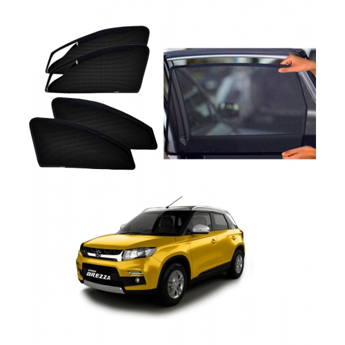 Maruti Suzuki Vitara Brezza Car Zipper Magnetic Window Sun Shades Set Of 4