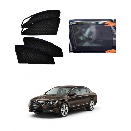 Skoda Superb Car Zipper Magnetic Window Sun Shades Set Of 4