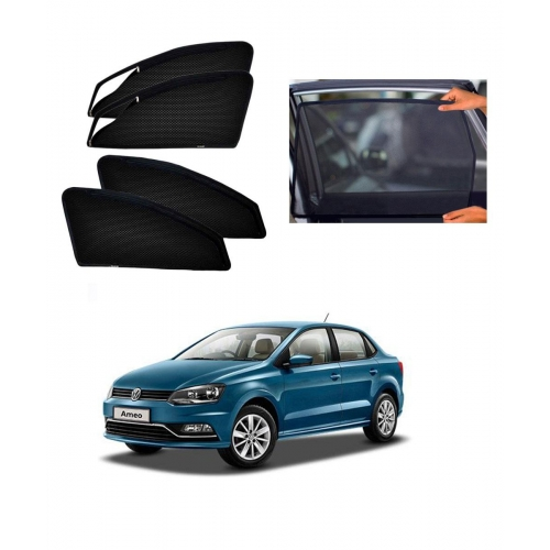 Volkswagen Ameo Car Zipper Magnetic Window Sun Shades Set Of 4