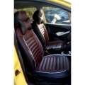 Ford Figo Aspire PU Leatherate Luxury Car Seat Cover With Pillow and Neck Rest (Coffee & Black)