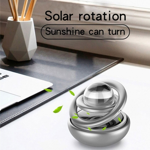 Carhatke Car Air Freshener Metal Double Loop Air Conditioner Solar Power Moving Crystal Ball for Car Dashboard/Home and Office
