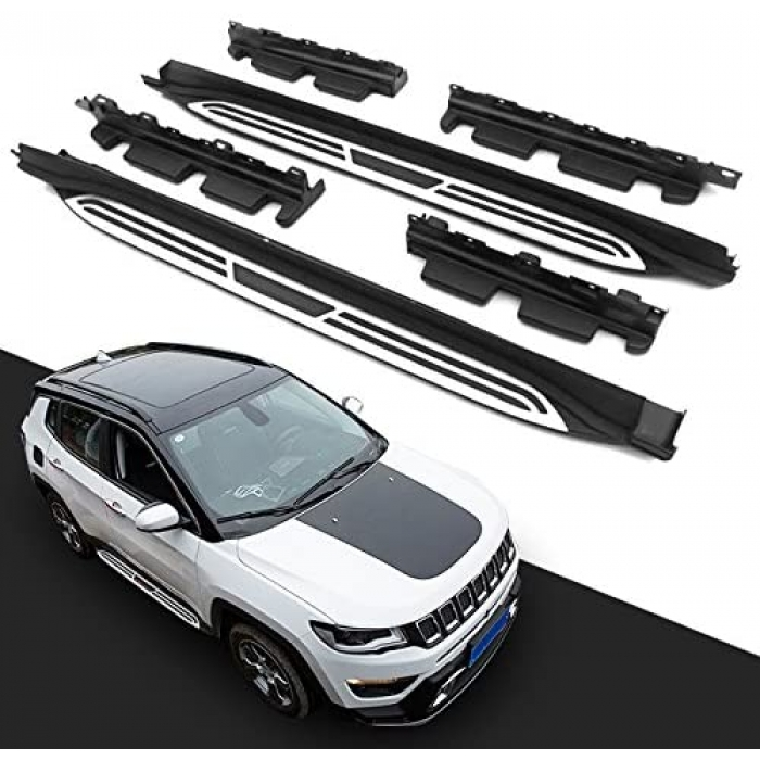 Jeep Compass 2017 Side Foot Stepper in ABS Stainless Steel Integrated Metal Reinforced