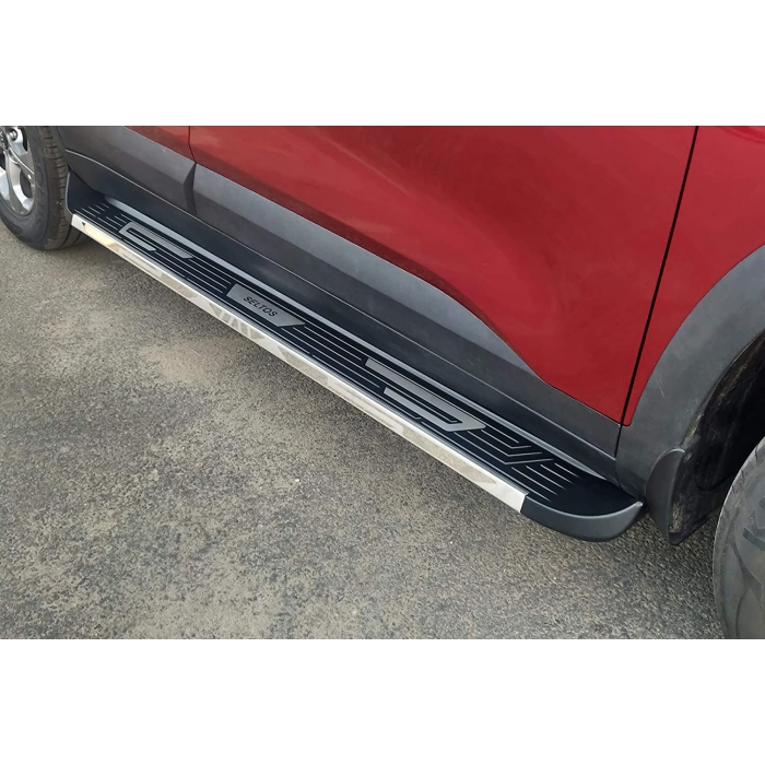Kia Seltos Side Foot Stepper in ABS Stainless Steel Integrated Metal Reinforced