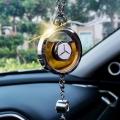 Original Car Rearview Mirror Metal Tassel and Crystal Inlay Logo Pendant Hanging Air Freshener
