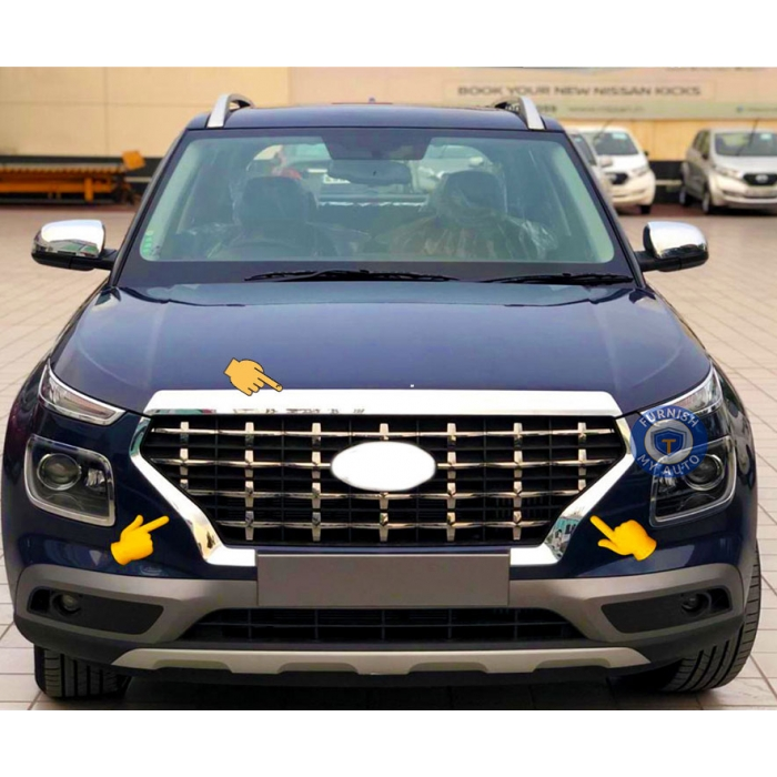 Hyundai Venue Front Grill Bonnet and Side Grill Chrome Garnish Trim in ABS Material (Set of 3 Pcs)