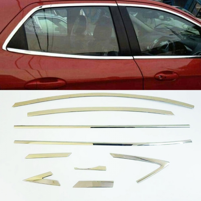 Hyundai Verna 2014 Full Window Chrome Garnish Trims (Set Of 18Pcs.)